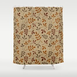 Fall Color Assorted Leaf Silhouette Pattern Shower Curtain