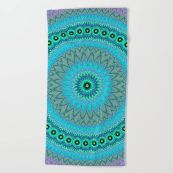 Boho flower mandala Beach Towel