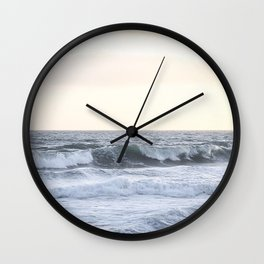 Sea Waves Modern and Vintage Beach Aesthetic Photography of Artsy Light Yellow Pink Sky Wall Clock