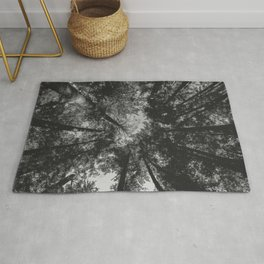 Tree Tops // black and white Rug