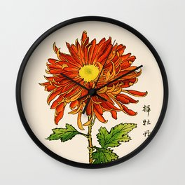 Vintage Japanese Chrysanthemum. Orange and Gold Wall Clock