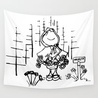 red riding hood Wall Tapestries featuring Little Red Riding Hood by LolMalone