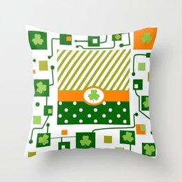 green Patrick, clover, schema Throw Pillow