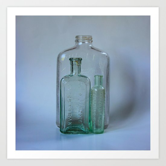Vintage Glass Bottles Art Print