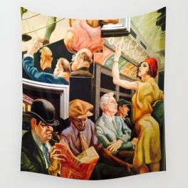 Classical Masterpiece 'Boston - Girl on the Subway' by Thomas Hart Benton Wall Tapestry