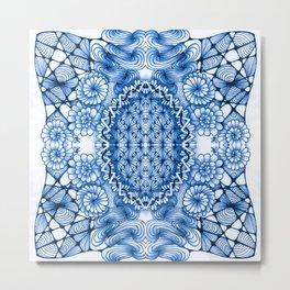 Blue Zentangle Tile Doodle Design Metal Print