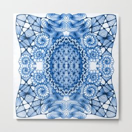 Blue Zentangle Tile Doodle Design Metal Print