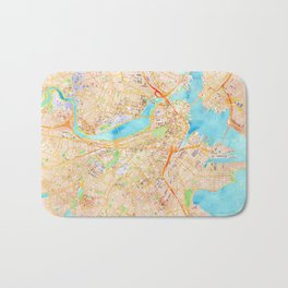 Boston watercolor map XL version Bath Mat