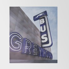 GREYHOUND BUS STATION COLOR Throw Blanket
