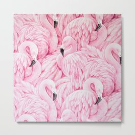 Elegant blush pink flamingo tropical bird pattern Metal Print