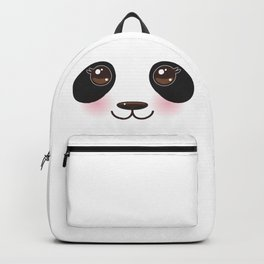 Kawaii funny panda white muzzle with pink cheeks and big black eyes on white  background Backpack 4235cc111c