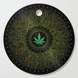 Magic plant. Marijuana leaf. mandala Cutting Board