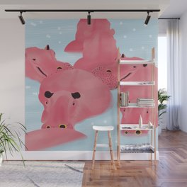 hippo wear flamingo's outfit Wall Mural
