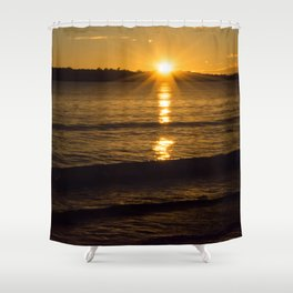 New Zealand sunrise over water Shower Curtain