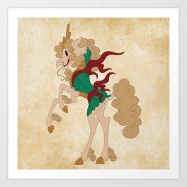 Japanese Unicorn Art Print