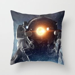 Astronaut helmet head in outer space galaxy Throw Pillow