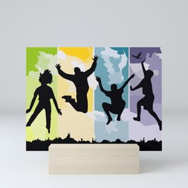 Freedom Jumping Scope Young People Silhouettes. Mini Art Print