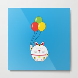 Fat Cat with Balloons Metal Print
