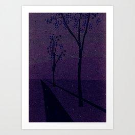Autumn Path (Night) Art Print