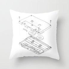 Exploded Cassette Tape  Throw Pillow