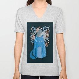 Cat and foliage - pastel blue and black Unisex V-Neck