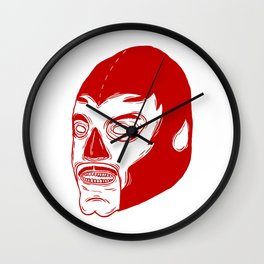 Red Luchador Wall Clock