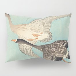 Geese flying in formation - Vintage Japanese Woodblock Print Art Pillow Sham