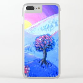 Blue Acrylic Mountain Sunset Landscape Painting Clear iPhone Case