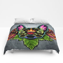 French Bulldog in Black - Day of the Dead Bulldog Sugar Skull Dog Comforters