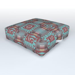 Aqua Turquoise Coral Red Brown Mosaic Pattern Outdoor Floor Cushion