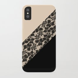 Elegant Peach Ivory Black Floral Lace Color Block iPhone Case