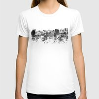 brussels T-shirts featuring Brussels skyline in black watercolor by Paulrommer