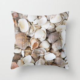 Seashells background pattern Throw Pillow