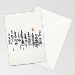 Nighttime Watercolor Forest Stationery Cards