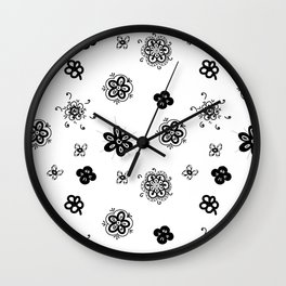 flowers on white background . home decor Wall Clock