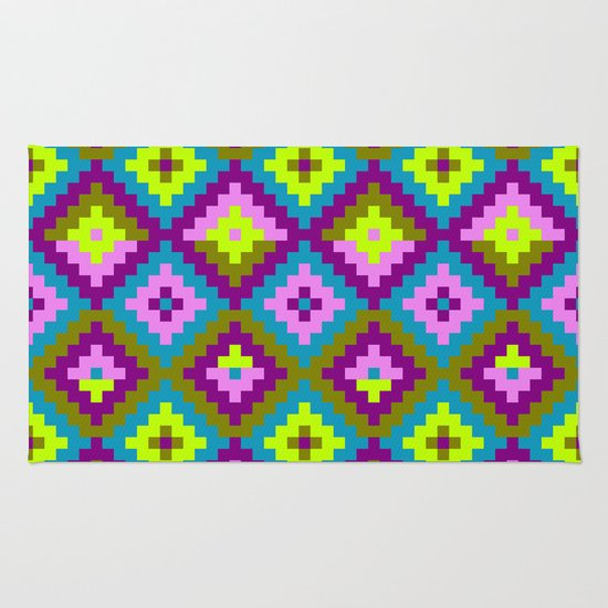 Aztec Pattern-purple, Pink, Green, Yellow Rug By Triballer