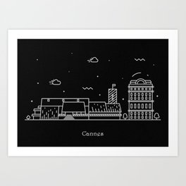 Cannes Minimal Skyline Drawing Art Print