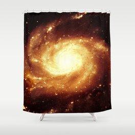 Golden Spiral Galaxy Shower Curtain