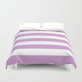 Pastel violet - solid color - white stripes pattern Duvet Cover