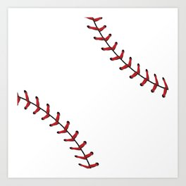 Softball Baseball design red laces Art Print