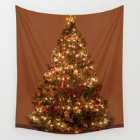 christmas tree Wall Tapestries featuring Christmas tree. by Assiyam