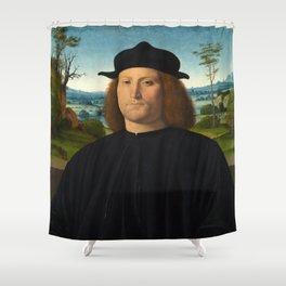 Portrait of Giovanni Cristoforo Longoni by Andrea Solario Shower Curtain