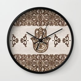 Hamsa Hand - Hand of Fatima  wooden texture Wall Clock