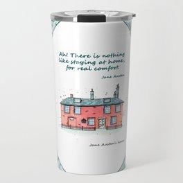 Jane Austen house and quote Travel Mug
