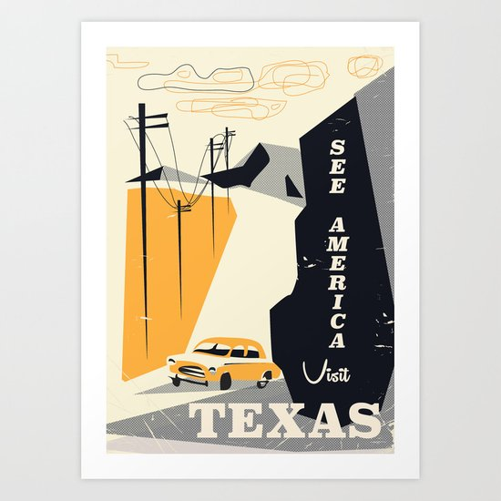 See America visit Texas Art Print