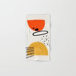 Planets Collide Yellow & Orange Mid Century Modern Colorful Minimalist Shapes Patterns by Ejaaz Hani Hand & Bath Towel