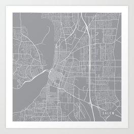 Salem Map, Oregon USA - Pewter Art Print