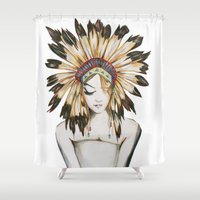 headdress Shower Curtains featuring Girl in Headdress by Liz Slome