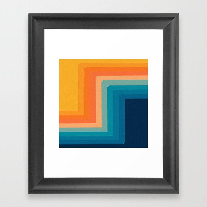 Retro 70s Color Lines Gerahmter Kunstdruck
