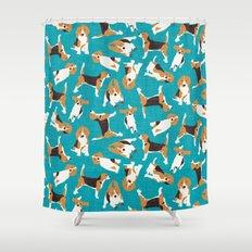 beagle scatter blue Shower Curtain